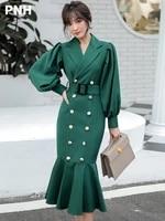 green windbreaker womens mid long korean 2021 new autumn waist lady temperament fishtail evening dress