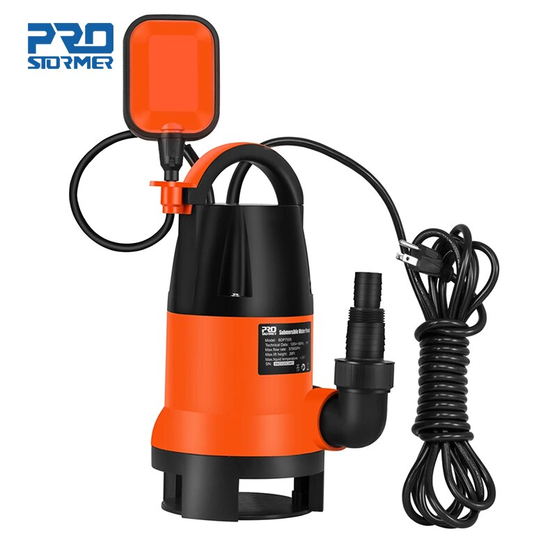 PROSTORMER-مضخة غاطسة 1HP 3700GPH ، مضخة مياه نظيفة/متسخة مع مفتاح عائم تلقائي ، بركة