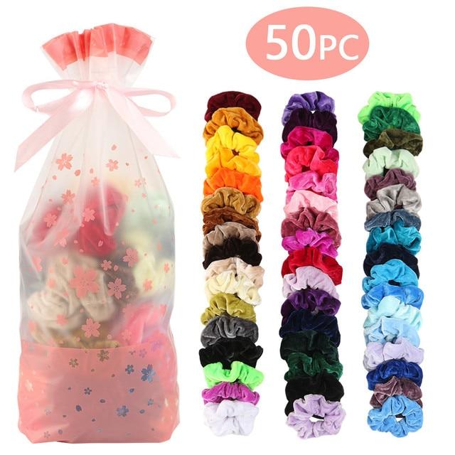 50 Colors Vintage Hair Scrunchie Pack Stretchy Velvet Scrunchies Women Elastic Hair Bands Girl Headwear Plain Rubber Hair Ties