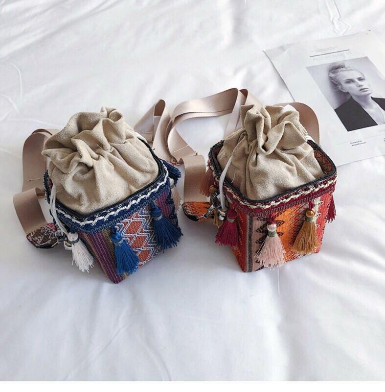 Bolsos de baño estilo bohemio para mujer, bolsos de hombro con parches, borla del bolso étnico, bolso cruzado, bolso de mensajero