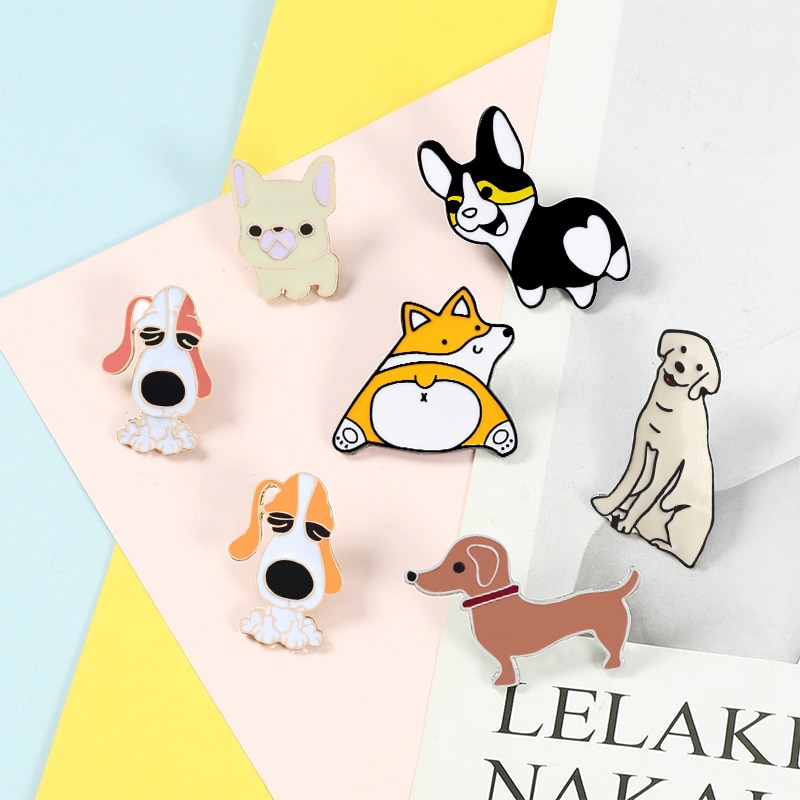 Cartoon Dog Collection Pins Brooch Corgi Bulldog Pet Lapel pins Jackets Sweater Animal Pin Badge Enamel Pins Women Jewelry Hot