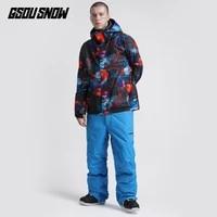 gsou snow winter suit men skiing jacket pant snowboard clothing trouser ski suit windproof waterproof outdoor sport wear warm