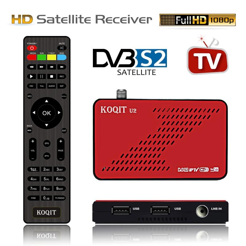Koqit U2 DVB S2 Receptor satellite receiver satellite Finder Internet DVB-S2 Cs Biss/VU Decoder iPTV USB Wifi/RJ45 Live TV Box