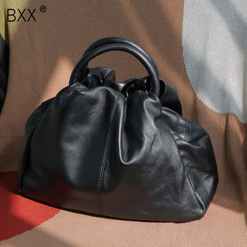 [BXX]Genuine Leather Crossbody Bags For Women 2021 Spring New Pleated Shoulder Messenger Shell Bag Female Travel Handbags HK900