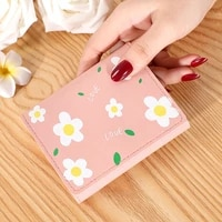 summer small women wallet trendy short purses flower printed coin bags female money pocket with soft leather porte monnaie femme