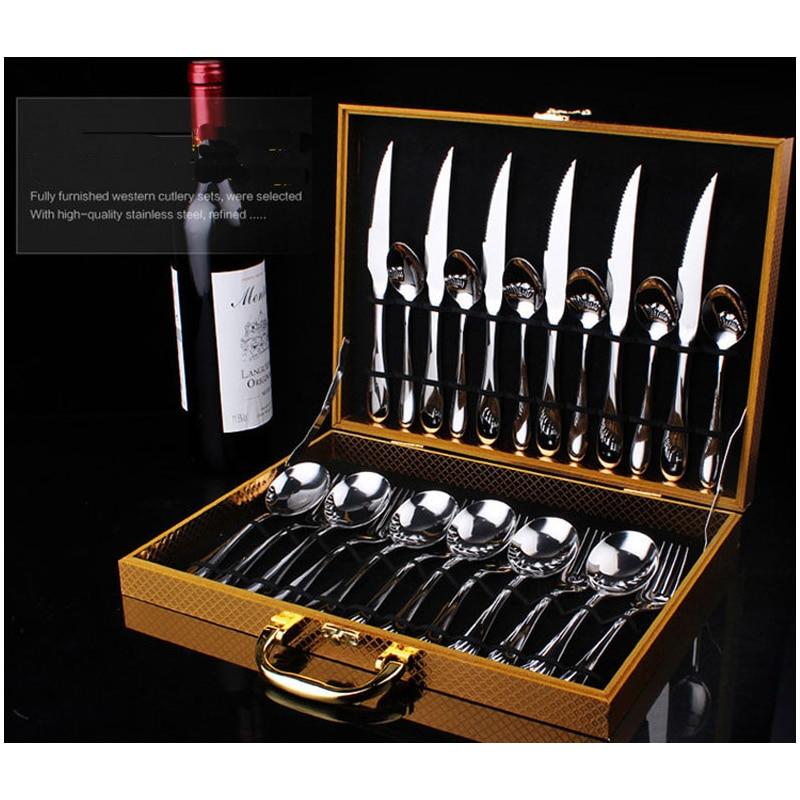 24 قطعة مجموعة أواني الطعام الذهبي/الأسود مجموعة عشاء الفولاذ المقاوم للصدأ مع صندوق هدية 3 نمط شوكة وسكينة والسكاكين