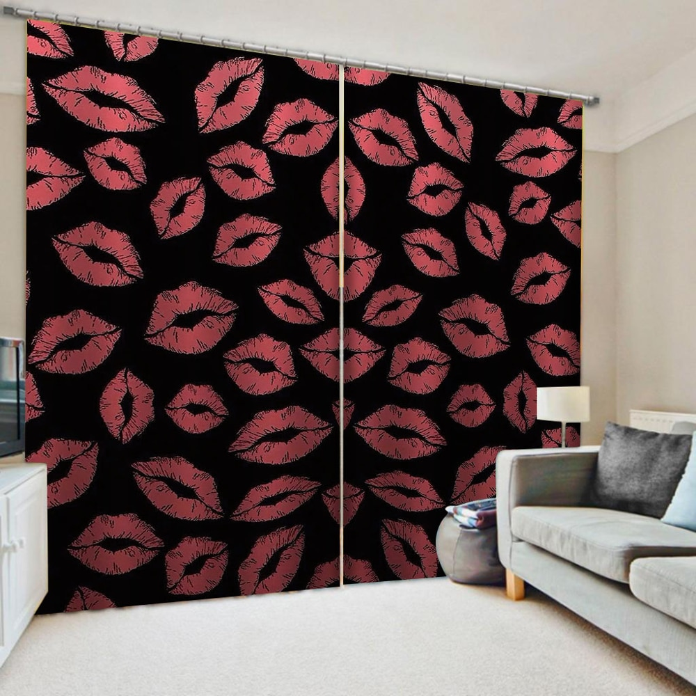 Custom 3D Printing Curtains Lips Design Young Room Curtains Drapes Thick Blackout Cortinas Drapes