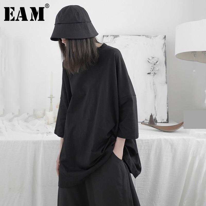 [EAM] Women Black Brief Big Size Long T-shirt New Round Neck Three-quater Sleeve  Fashion Tide  Spring Summer 2020 1T664