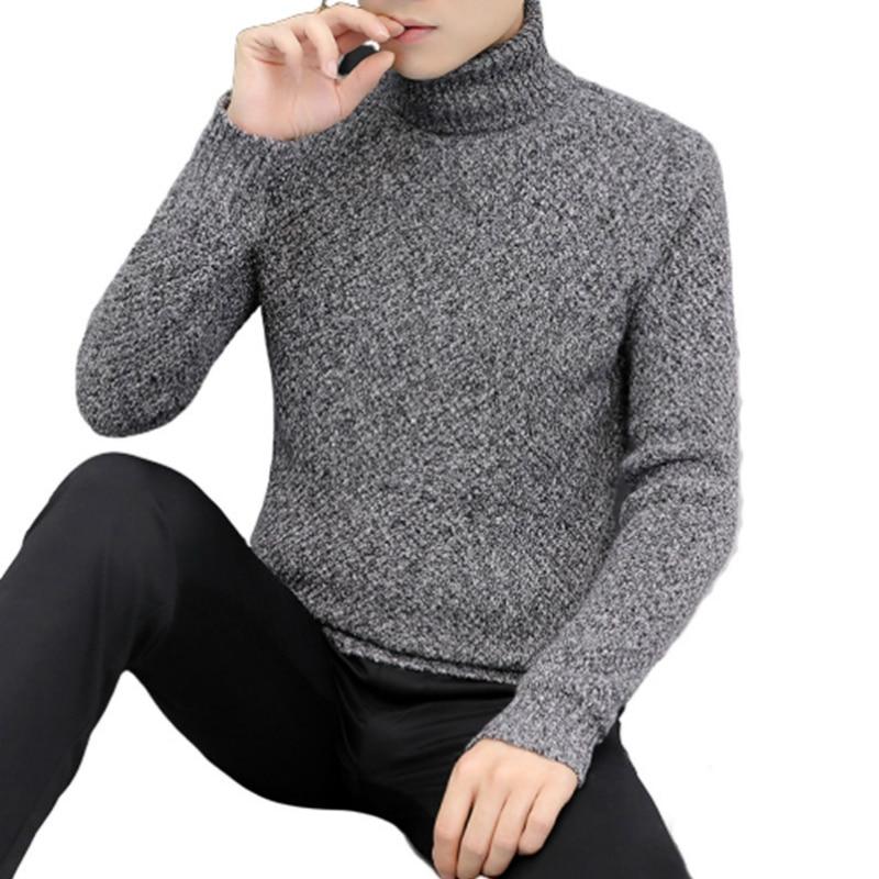 Новинка мужские свитера зимняя Водолазка Теплые Повседневные вязаные пуловеры модная водолазка мужские свитера 2020 мужские свитера