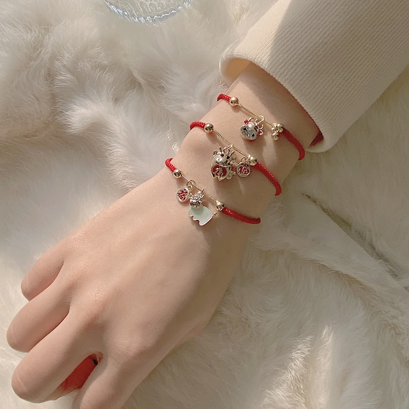 The of the Ox This Animal Year Red Rope Bracelet Ins Special-Interest Design Carrying Strap Best Fri