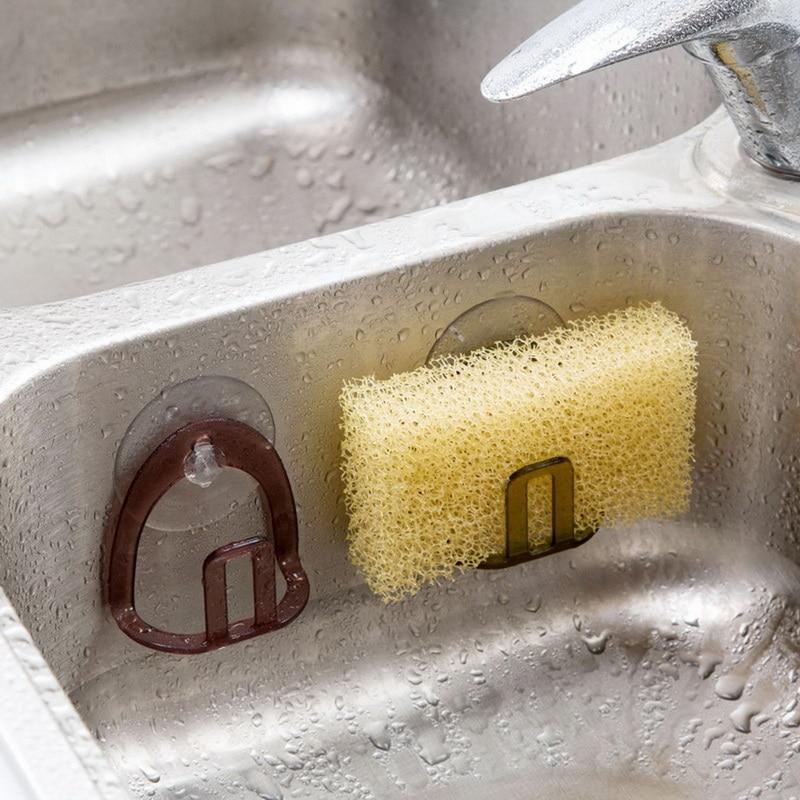 1PC Suction Cup Sink Sponge Shelf Rack Holder Multifunctional Bathroom Soap Sponges Scrubbers Kitchen Laundry Room Organizer