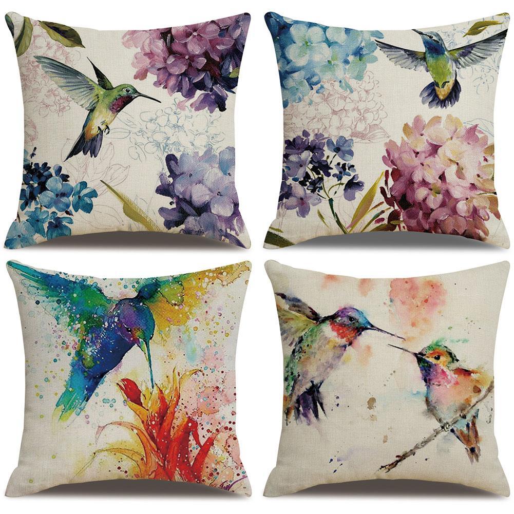 Funda de cojín con diseño de flores de colibrí de 45x45cm, funda de cojín de lino, funda de cojín decorativa para sofá o hogar