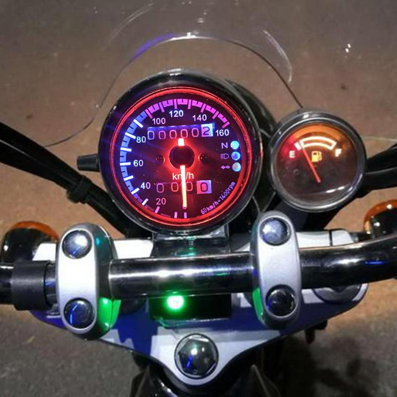 Odómetro de Velocímetro LED Universal para motocicleta de 12V, con engranaje Neutral de faros, indicador de señal de giro