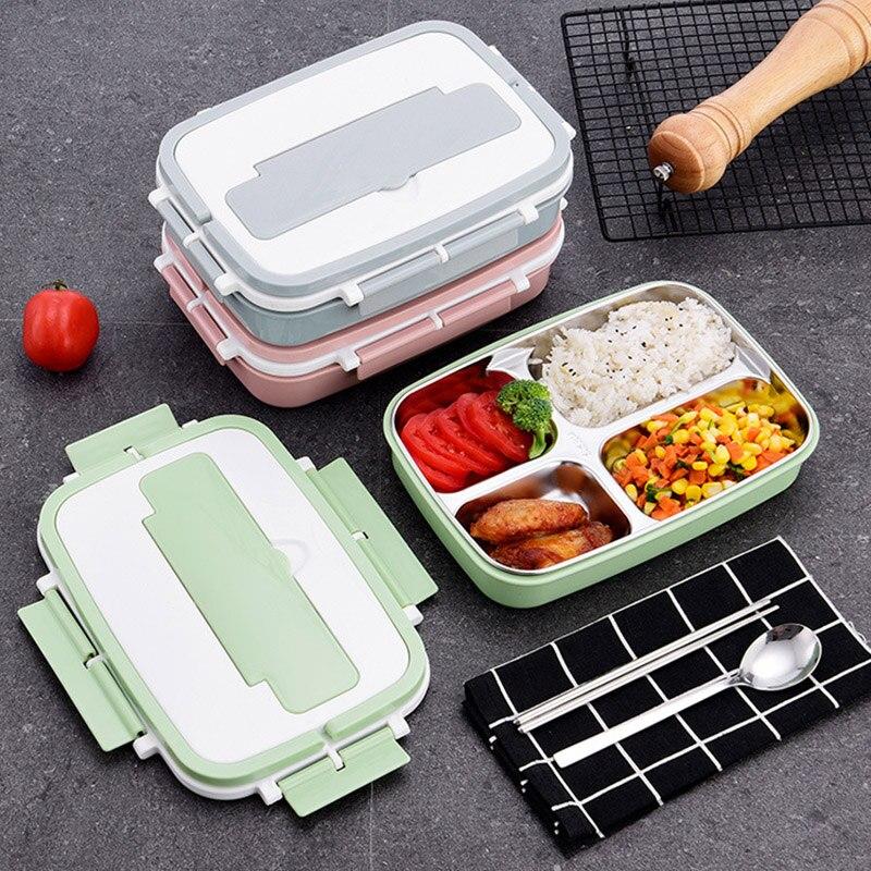 304 caja de almuerzo de acero inoxidable diseño de compartimiento sellado a prueba de fugas contenedor de almacenamiento de alimentos Bolsa de almuerzo Lancheira Bolsa Termica