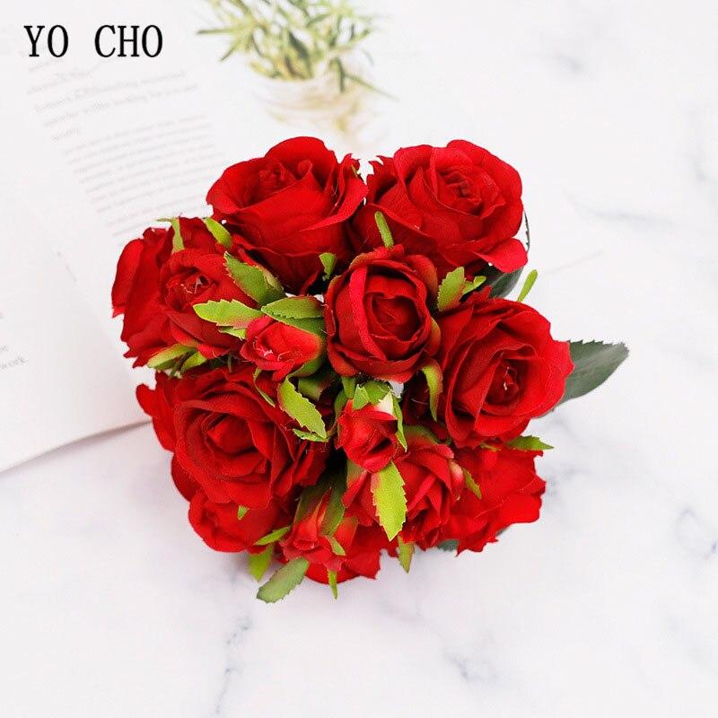 Ramo pequeño de Flores artificiales de seda con 18 cabezas, ramo de Flores para fiesta en casa, decoración de boda y primavera, conjunto de Flores rosas falsas para boda