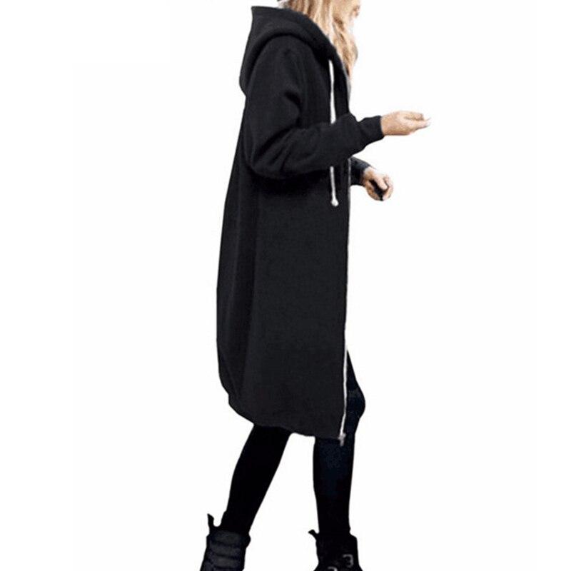 Осень 2021, Повседневная Женская Длинная толстовка, свитшот, пальто на молнии, верхняя одежда, куртка с капюшоном, зимняя верхняя одежда с карм...