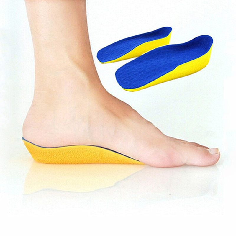 Invisible tacón de 2cm ascensor secreto aumento de altura plantillas medias en calcetín de hombre mujer caminando poder Flexible zapatos Inserto 1 par