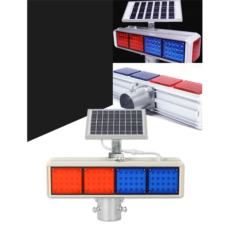 86LIGHT Solar Warning Lights Aluminum LED Strobe Flashing Light  Double Side Red And Blue Signal light enlarge