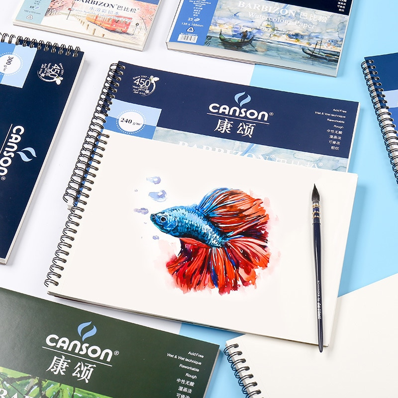 France's Canson Babisson Watercolor Coil Four-sided Sealed Paper 16K8K 300g200g Drawing Book Sketchbook Watercolor Book