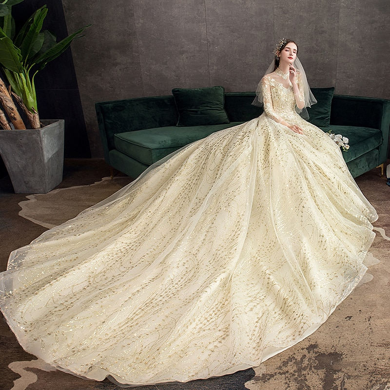 Gold Lace Muslim Wedding Dress With Big Train 2021 New High Neck Full Sleeve  Gown Vintage Bridal  X