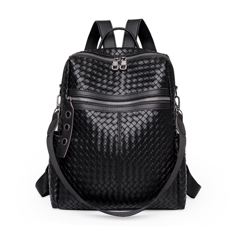 Fashion Backpack Women 2020 New Large Capacity Woven Pattern PU Leather Bagpack Big High Quality Ladies Leisure Travel Bag Pack