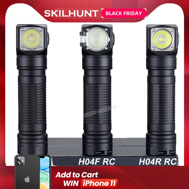 Skilhunt-مصباح يدوي LED مغناطيسي قابل لإعادة الشحن H04 H04R H04F RC 1200 لومن ، مصباح يدوي مخصص مع USB للصيد والتخييم وعقال