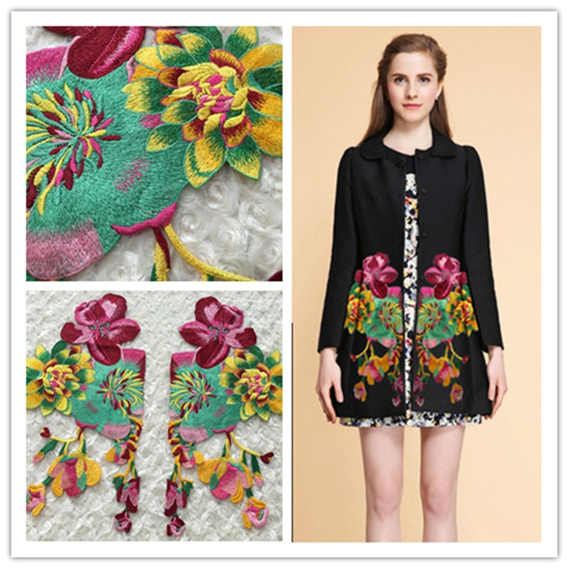 1 par grande flor bordado remendo costura no casaco vestido roupas robe acessório applique artesanato remendos de renda diy