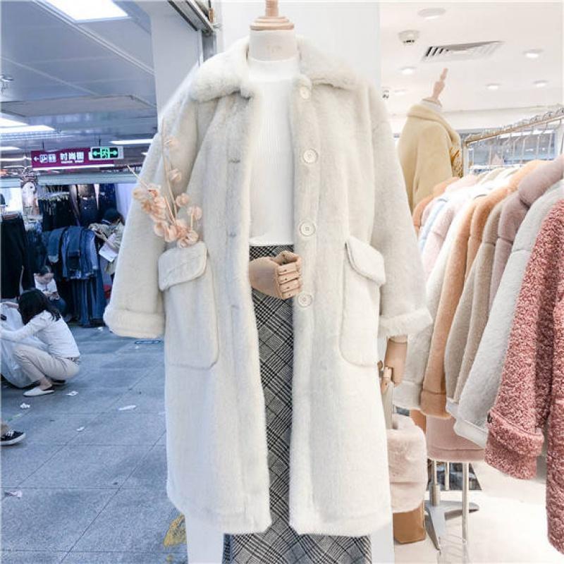 Women 2020 Autumn Winter Thick Warm Overcoat Plush Long Coat Female Lapel Faux Lamb Wool Fur Jacket Elegant Solid Outerwear N165
