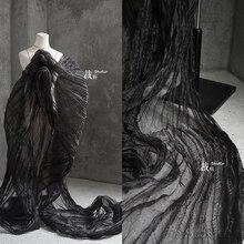 Tissu en organza noir plissé maille de perspective 3d   Tissu de styliste créatif, tissu de patchwork de vêtements pour robe
