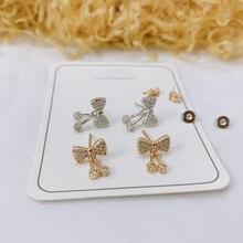 Mode Luxus Damen Schmuck Hochzeit Party AAA Zirkon Bulgarien Bogen Ohrringe 925 Sterling Silber Ohrringe Geschenk
