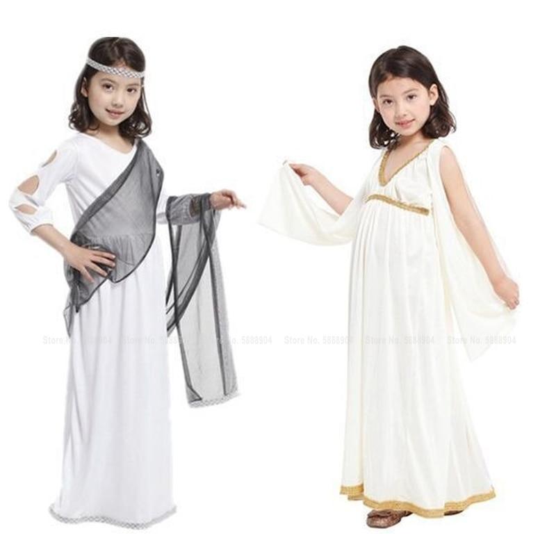 Disfraz de Cosplay de Halloween para niños y niñas, disfraz de diosa griega, vestido de princesa, disfraz árabe de Atenea, bata blanca