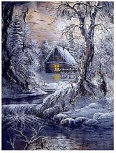 5d tam yuvarlak elmas boyama kış kır evi elmas nakış kar sedir diamant rhinestone resim manzara elmas dotz