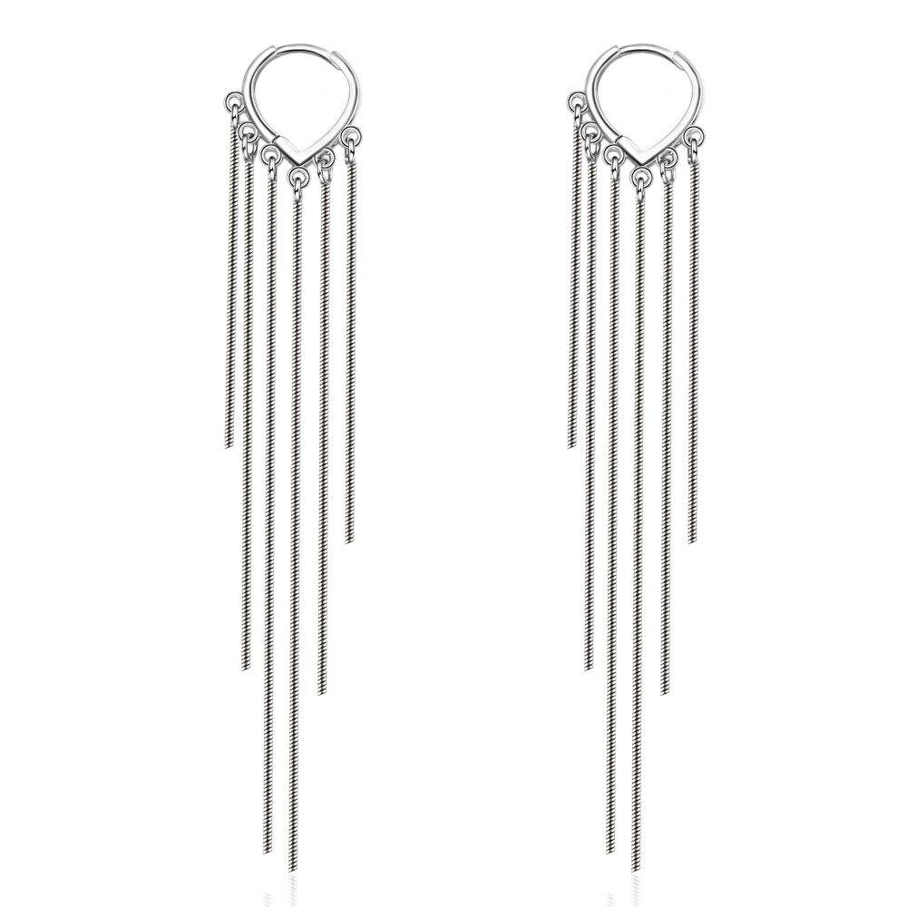 Pendientes de gota de corazón de amor con borlas largas para mujer, Plata de Ley 925, cadena lujosa de moda coreana, joyería estética, Pendientes colgantes