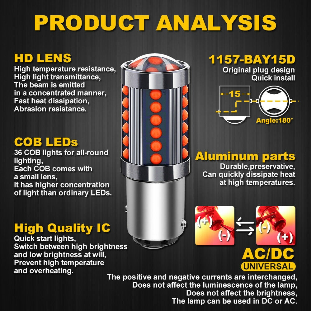 Tail COB LED Light Bulb Aluminum Brake Car DC/AC 12V-24V Lamp Light Red недорого