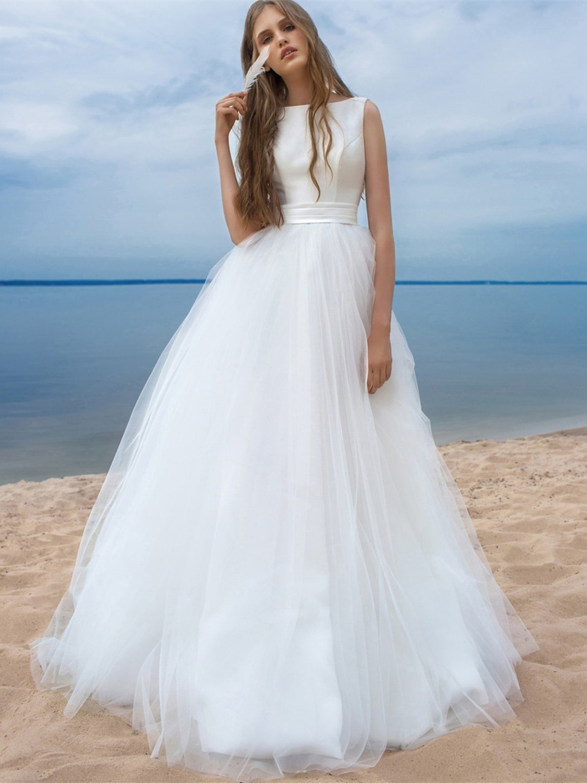 Review Bateau Satin Tulle Simle Beach Wedding Dress Pleated Plus Size Princess Maxi Lace Up Bow Backless Summer Bridal Gown Custom Made