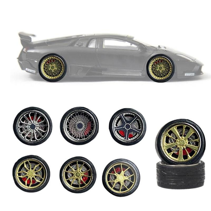 1 64 llantas de vehículo neumático de aleación modificadas ruedas de reparación de coche de goma para coches modelo General de coches de cambio de ruedas juego de Juguetes