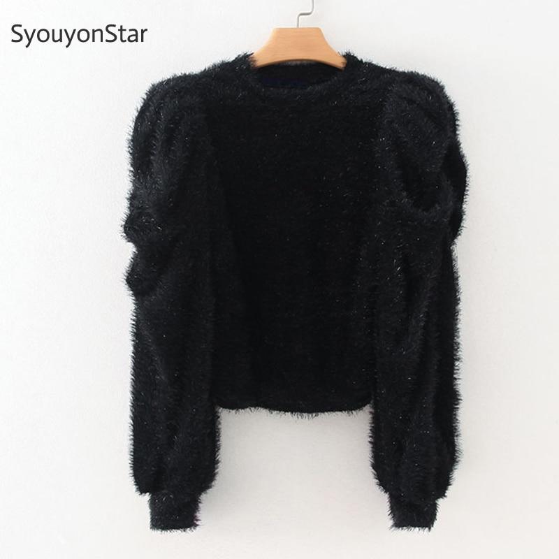SyouyonStar Autumn Women Faux Fur Black Blouse Puff Sleeve O-neck Warm Tops 2019 Fashion Solid Color Elastic Shirts