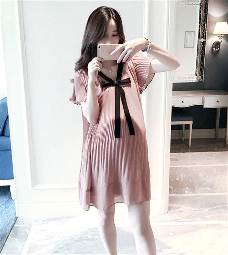 Chiffon Maternity Blouse Dresses Pregnant Women Clothes 2020 Loose Casual Pleated V-Neck Pregnancy Dresses Vestidos Plus Size enlarge