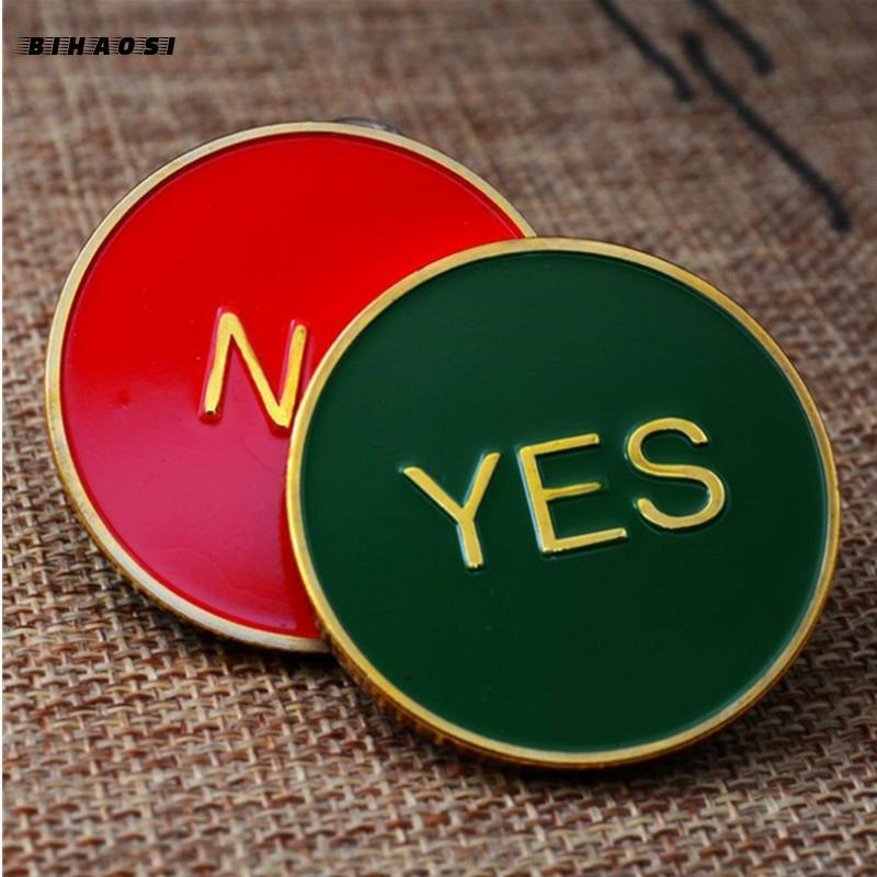 Памятный металлический значок Yes/No, медная монета, поделки под заказ для принятия решений, гадание, игровая монета, монета, Новая монета для в...