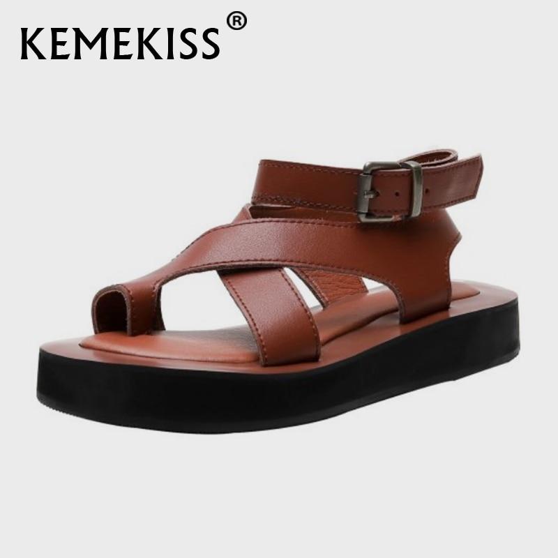KemeKiss-صندل نسائي مسطح من الجلد الطبيعي ، حذاء نسائي بنعل سميك ، حذاء عطلة ، مقاس 32-44