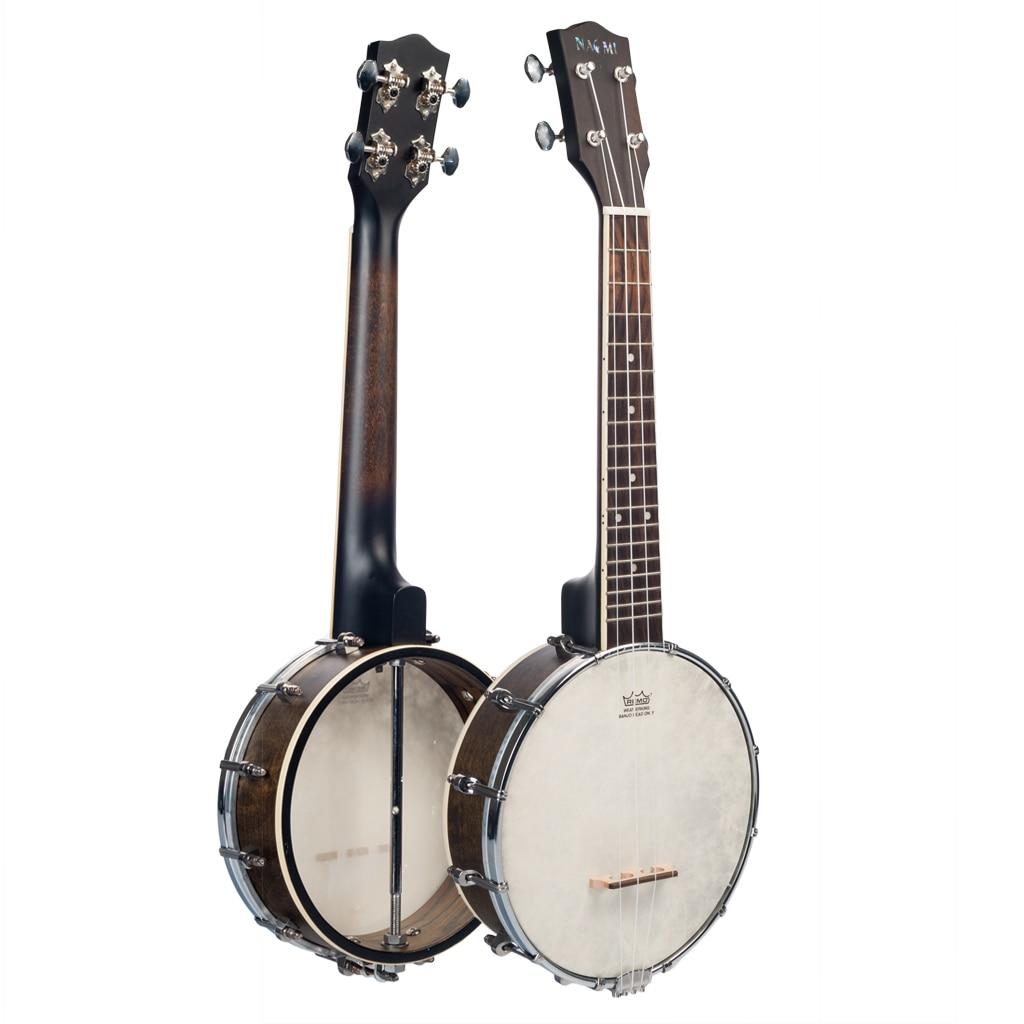 NAOMI 23 Inch Banjo 18 Frets Concert Scale 4 String Banjolele Satin Vintage Mahogany Chrome-Plated Hardware w/Carrying Bag enlarge