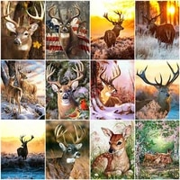 animal deer elk diamond painting cuadro 5d diy full square round drill cross stitch embroidery landscape mosaic home decoration