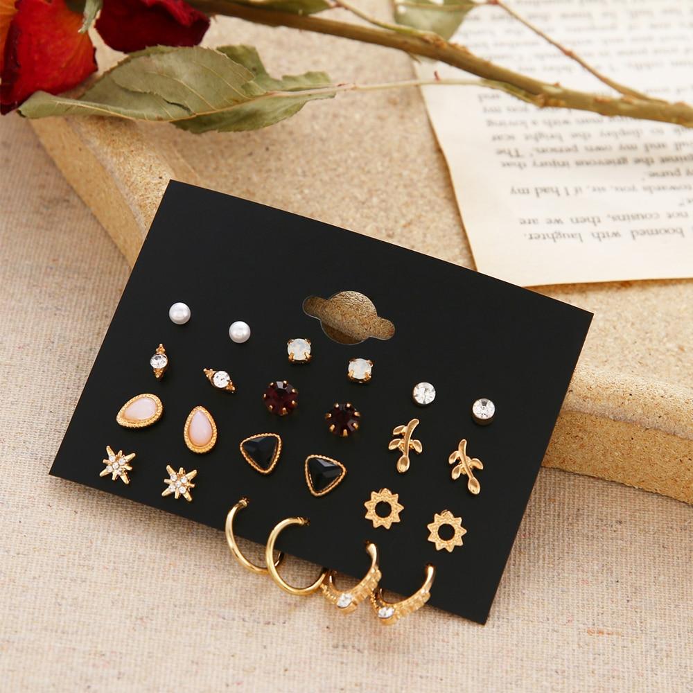 12 porų gėlių moteriški auskarai, perlų krištolo auskarai, - Mados papuošalai - Nuotrauka 6