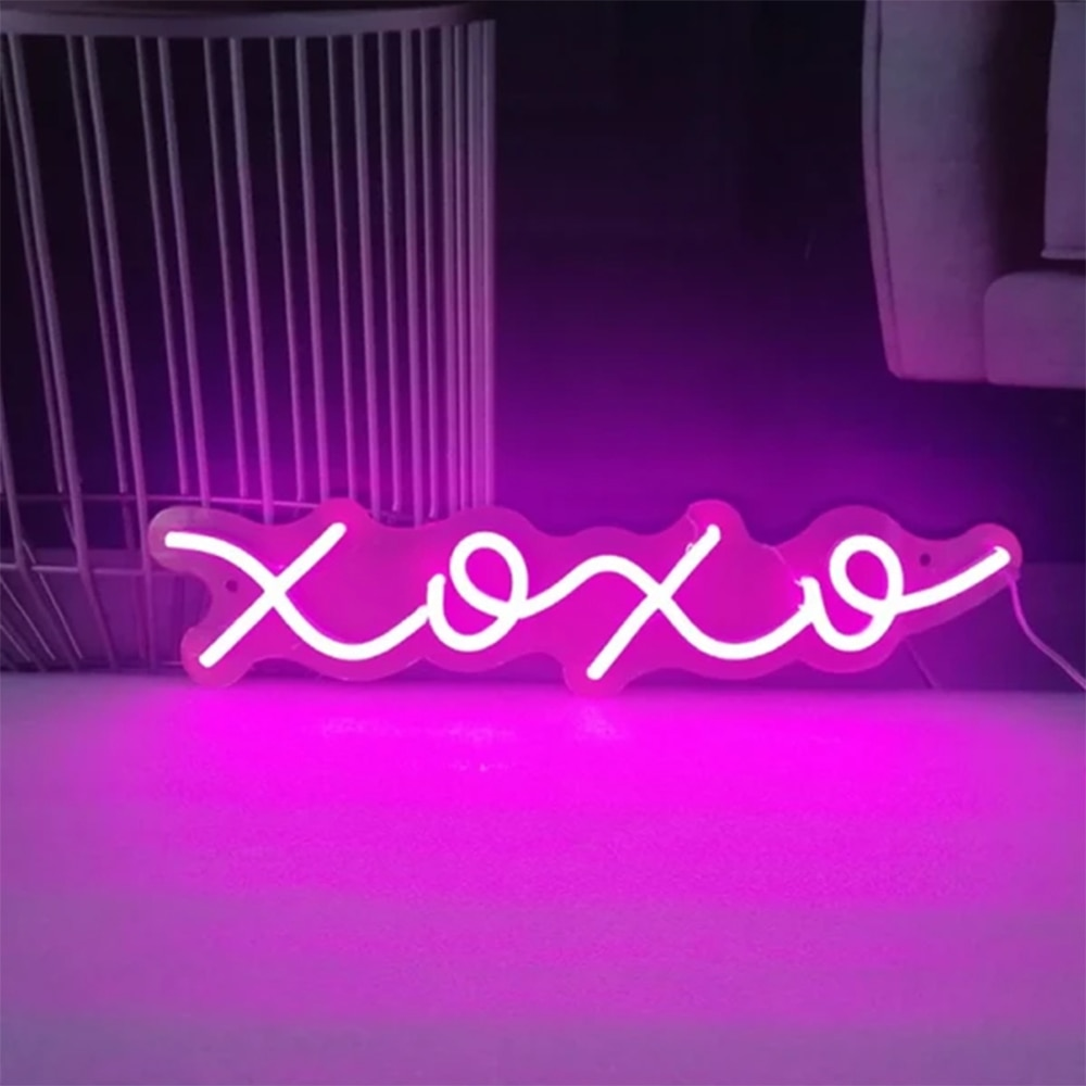 XOXO For Family Neon Sign Led Light Custom Name Logo Personalized Decor Letter Led Wall Home Club Birthday Gift Neon Light Sign