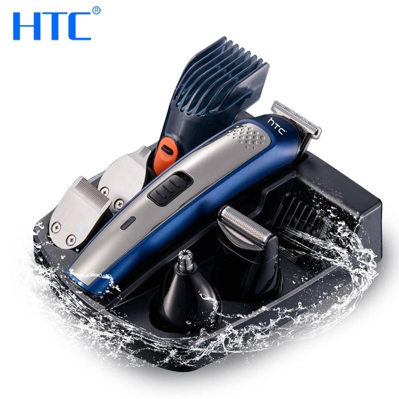 HTC 5 في 1 مقص الشعر الكهربائية المهنية متعددة الوظائف مقاوم للماء قابلة للشحن سريع تهمة 110 فولت-240 فولت للرجال AT-1207