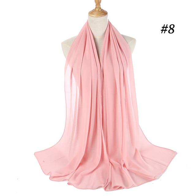 Шифоновый хиджаб в мусульманском стиле Женский, мягкий длинный шарф из пузырьков, однотонный исламский хиджаб из Жоржетта, Женский хиджаб | Тематическая одежда и униформа | АлиЭкспресс