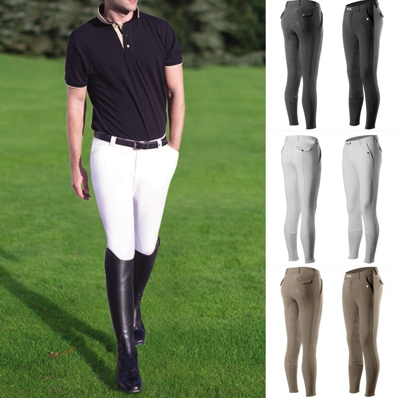 Horse Breeches Equestrian Clothing Men Rider Tight Casual Pants Mid-waist Pocket Outdoor Cycling Tro