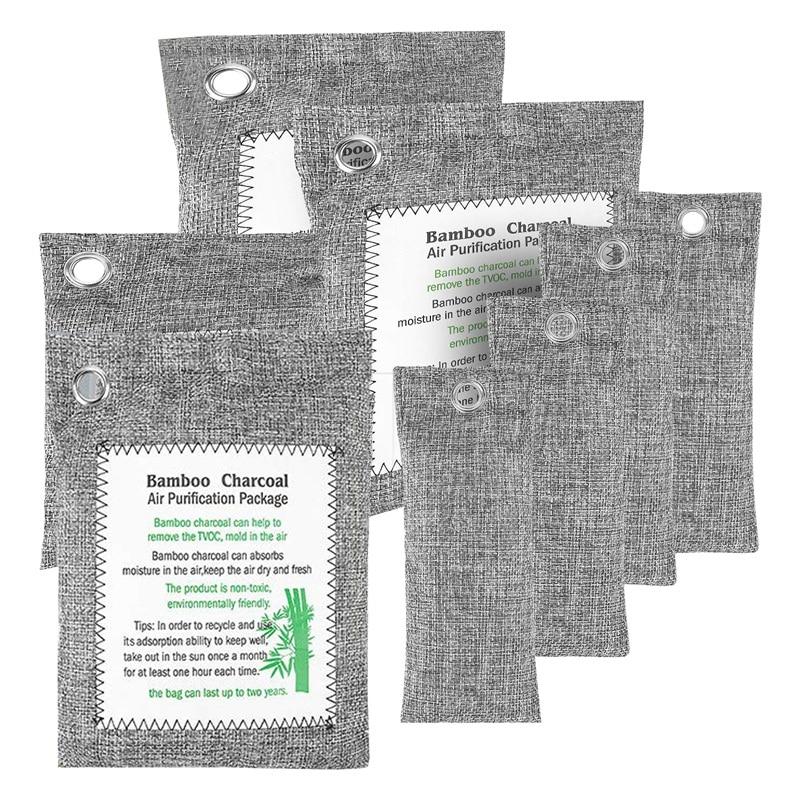 Paquete de 8 bolsas Purificadoras de aire de carbón de bambú, absorbentes de olores de carbón activado, ambientador Natural, purificador de aire para coche