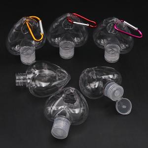 5Pcs 50ml Portable Heart Shape Empty Refillable Bottle With Key Ring Hook Travel Hand Sanitizer Bottle Hook Keychain Carrier