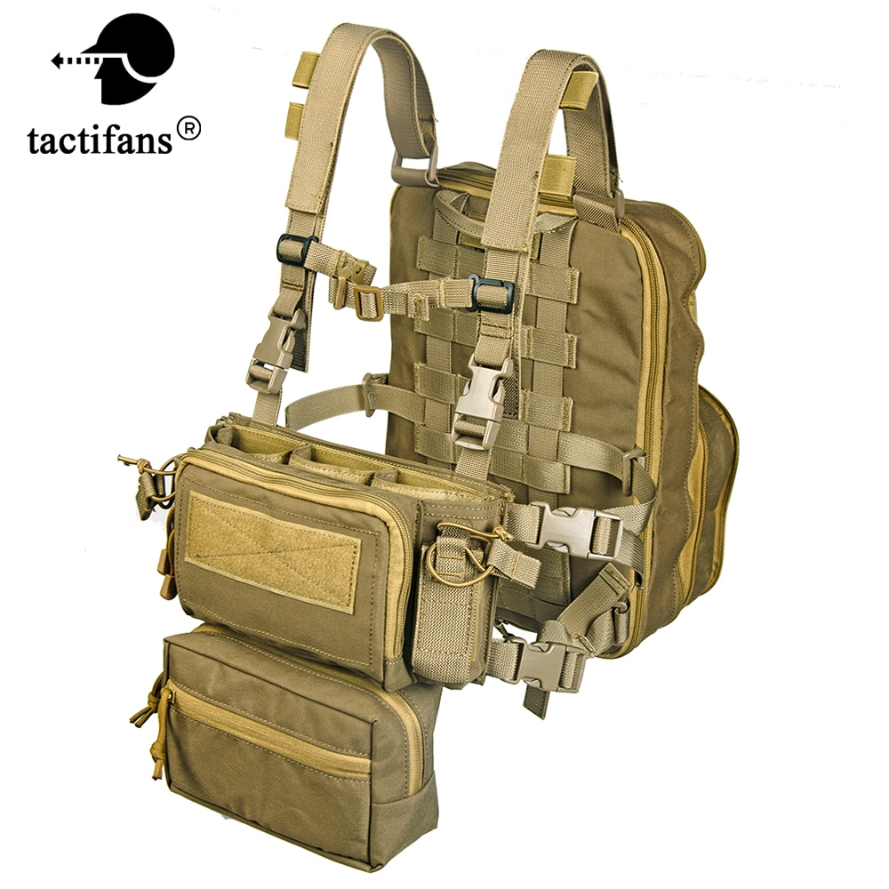 Flatpack D3 Plus Backpack Hydration CB Chest Rig Vest Armor Rifle AK M4 Pistol Magazine Pouch Outdoor Hiking Hunting Army Bag
